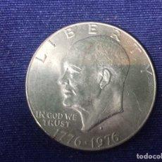 Material numismático: MEDALLA METAL PLATEADO UNITED STATES OF AMERICA ONE DOLLAR LIBERTY EISENHOWER PRESIDENTE 1776 1976. Lote 128620855