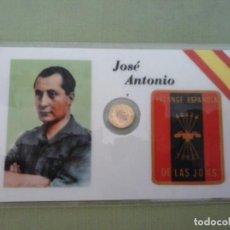 Material numismático: TARJETA PLASTIFICADA JOSE ANTONIO CON PEQUEÑA MONEDA. Lote 131096096