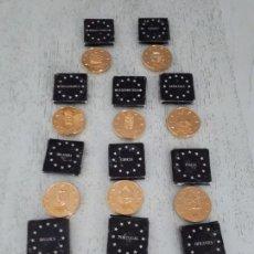 Material numismático: LOTE DE MEDALLONES BAÑADOS ORO DE PAISES UE. TEMATICA MONUMENTOS. Lote 132302862