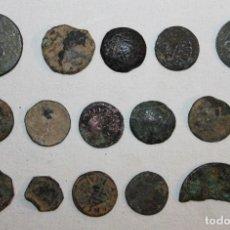 Material numismático: LOTE DE ANTIGUAS MONEDAS A IDENTIFICAR CON DESGASTE. Lote 135827074