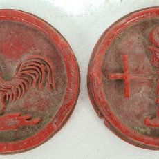 Material numismático: PAREJA DE MOLDES DE CERA PARA MEDALLA. SIGLO XIX-XX. . Lote 143127174