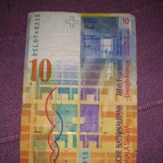 Material numismático: BILLETE DIEZ 10 FRANCOS SUIZOS ALBUM ROJO. Lote 177060868
