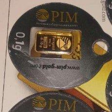 Material numismático: 2 LINGOTES DE ORO PURO 999 DE 0,10 GRAMOS. Lote 150033494