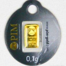 Material numismático: 1 NUEVO LINGOTE DE ORO PURO 999 DE COLECCION. Lote 151041456