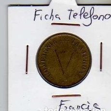 Material numismático: FICHA TELEFONICA TOKEN JETON DE FRANCIA. Lote 152824970