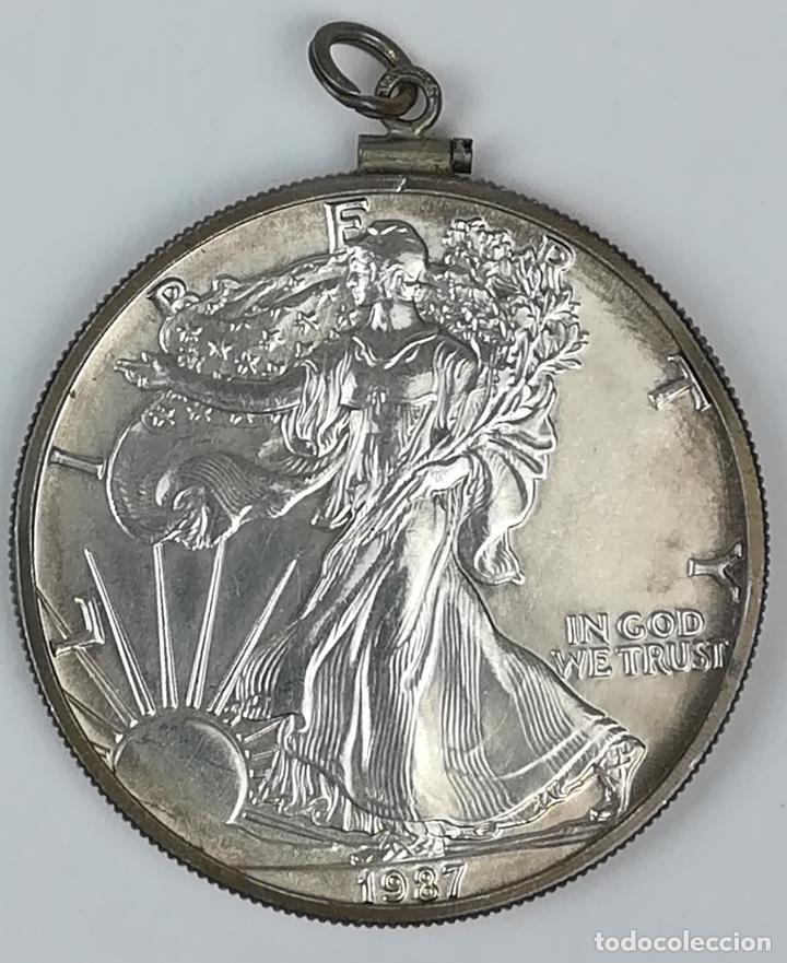 MONTURA PARA MEDALLA.1 DÓLAR DE PLATA DEL ÁGUILA ESTADOUNIDENSE. 1987 (Numismática - Material Numismático)