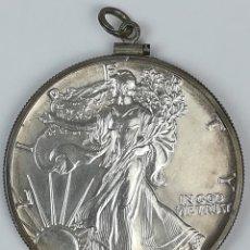 Material numismático: MONTURA PARA MEDALLA.1 DÓLAR DE PLATA DEL ÁGUILA ESTADOUNIDENSE. 1987. Lote 159047554