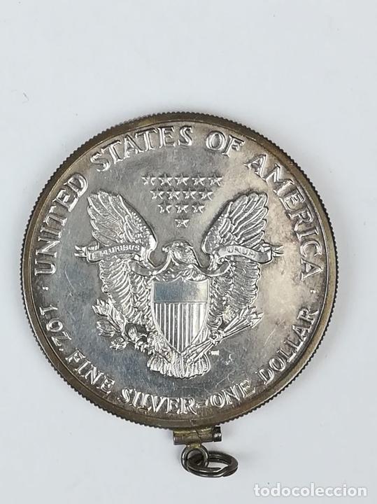 Material numismático: MONTURA PARA MEDALLA.1 DÓLAR DE PLATA DEL ÁGUILA ESTADOUNIDENSE. 1987 - Foto 2 - 159047554