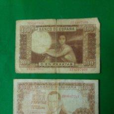 Material numismático: BILLETES 100 PESETAS BANCO DE ESPAÑA 2 ABRIL 1953. Lote 160930770