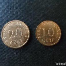 Material numismático: 2 MONEDAS DE PRUEVAS DE EURO DE 20 Y 10 CENTIMOS AÑOS 90 S/C. Lote 163006398