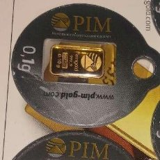 Material numismático: 2 LINGOTES DE ORO PURO 999 DE 0,10 GRAMOS. Lote 168151564