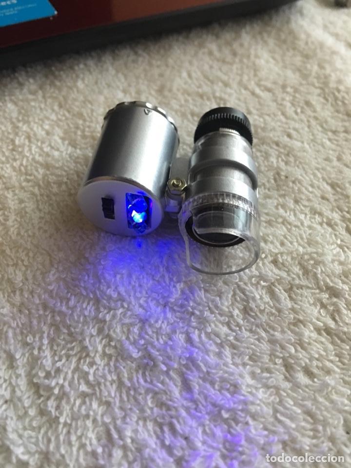 Material numismático: Lupa microscopio profesional x60 aumentos con luz led blanca y ultravioleta - Foto 2 - 170859022