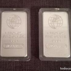 Material numismático: LOTE 2 LINGOTES 1 TROY FINE SILVER PLATEADO. Lote 174099322