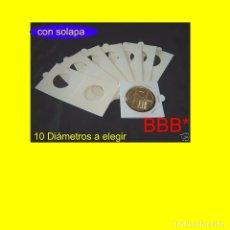 Material numismático: 1.000 CARTONES GRAPAR, CON SOLAPA. ( 10X100). RETRACTILADOS EN PAQUETES DE 100 DE IGUAL DIÁMETRO.. Lote 223149940