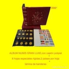 Material numismático: ALBUM NUMIS 21X23CM,CON CAJETÍN. EN POLIPIEL Y CAJETÍN IDÉNTICO.+ 6 HOJAS CLARABOYA + BANDERAS. Lote 175100418