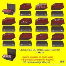 Material numismático: ESTUCHE CARUS DE MADERA AUTÉNTICA.CON 4 BANDEJAS Y PLANTILLAS PARA MONEDAS.ELEGIR MODELO !. Lote 175157930