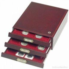 Material numismático: BANDEJA LIGNUM DE MADERA COLOR CAOBA.INTERIOR EXTRAÍBLE.TAMAÑO: 255X30X324MM.20D CARTONES/CAPS.QDRUM. Lote 175280267