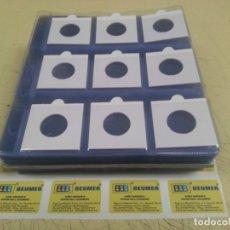 Material numismático: 100 HOJAS NUMIS TRANSPARENTES DE 19X21CM. PARA 9 CARTONES DE MONEDAS (NO INCLUÍDOS). Lote 222037221
