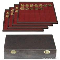 Material numismático: ESTUCHE CARUS DE MADERA . CON 4 BANDEJAS DE 35 DIVISIONES. PARA MONEDAS HASTA 36MM . 325X265X65M. Lote 176828857