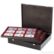 Material numismático: ESTUCHE CARUS DE MADERA . CON 4 BANDEJAS DE 9 DIVISIONES. PARA MONEDAS 63X85MM . 325X265X65M. Lote 176829154