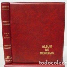Material numismático: ALBUM BBB* BEUMER, PARA MONEDAS LUXE 27X33 CM. PARA HOJAS 20 CARTONES.4 ANILLAS. GRANATE.. Lote 296769783