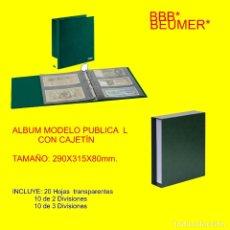 Material numismático: ALBUM MODELO PUBLICA L. CON 20 HOJAS TRANSPARENTES. INCLUYE CAJETÍN. TAMAÑO: 290X315X80MM. GRANATE. Lote 176947640