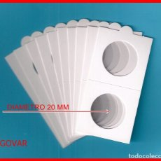 Material numismático: 10 CARTONES DIAMETRO 20 MM CON SOLAPA PARA MONEDAS; DE GRAPAR. Lote 213466296