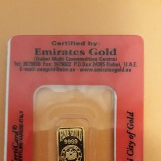 Material numismático: LINGOTE ORO EMIRATES GOLD 2,5 GRAMOS ORO PURO 999,9. Lote 103879514
