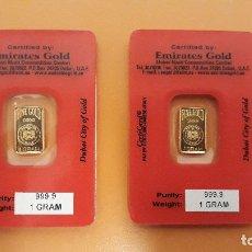 Material numismático: 2 LINGOTES DE ORO DE 1 GRAMO CADA UNO, EMIRATES GOLD. Lote 175636843