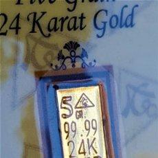 Material numismático: USA LINGOTE MACIZO ORO PURO 999.9 DE 5.GR. 24.KILATES EN BLÍSTER CERTIFICADO - PESO: 0,324 GRAMOS. Lote 177427777