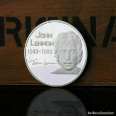 Material numismático: MONEDA MEDALLA PLATA JOHN LENON, ANIVERSARIO NACIMIENTO Y MUERTE, EN SU ESTUCHE NUMISMÁTICA, 3,38 CM. Lote 180113662