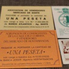 Material numismático: VALES 1 PESETA DE DIFERENTES BANCOS SABADELL CAJA PENEDES BANCA JOVER Y BANCO ATLANTICO. Lote 180901387