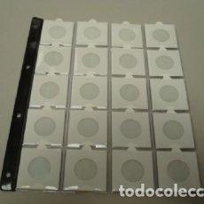 Material numismático: HOJA PARA 20 CARTONES. CON UÑERO. REFUERZO EN EL LOMO.. Lote 182265621