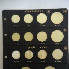 Material numismático: LOTE DE 6 HOJAS PARDO PARA MONEDAS DE JUAN CARLOS I DIFERENTES. --- 5. Lote 183294831