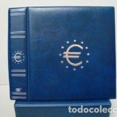 Material numismático: ALBUM MONEDAS €URO MAMUT AZUL 30X32X9 CM. CON CAJETÍN.. Lote 187198981