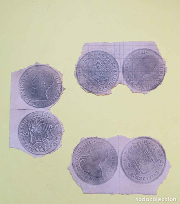 Material numismático: 3 CALCOS de MONEDAS (papel, S. XIX) Numismática ¡Originales! ¡Coleccionista! - Foto 2 - 189739732
