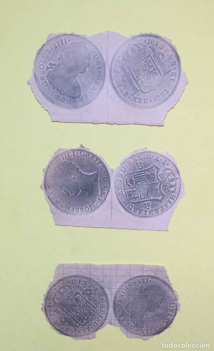 3 CALCOS DE MONEDAS (PAPEL, S. XIX) NUMISMÁTICA ¡ORIGINALES! ¡COLECCIONISTA! (Numismática - Material Numismático)