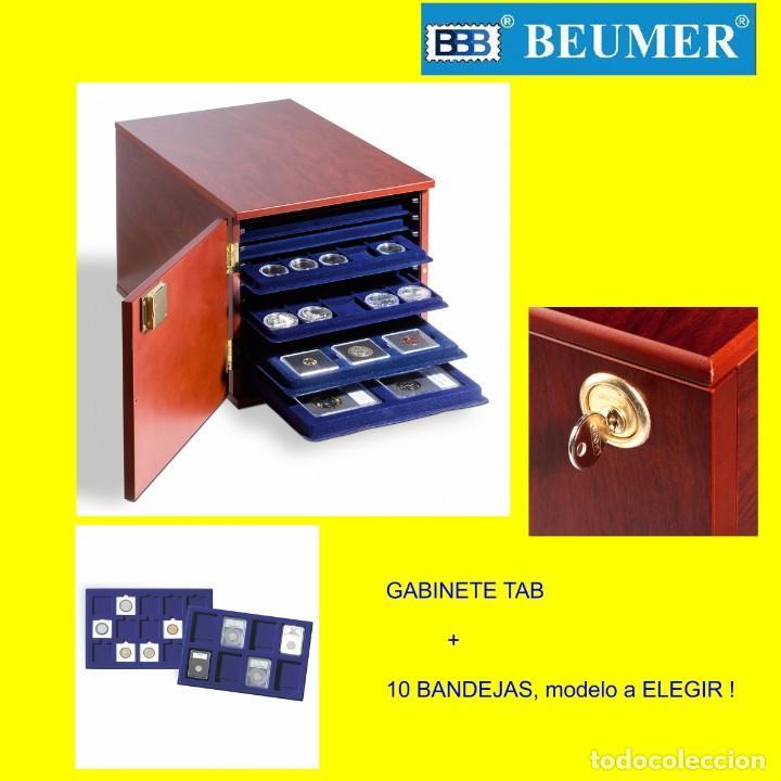GABINETE, LEUCHTTURM; MODELO TAB + 10 BANDEJAS TAB, MODELOS A ELEGIR POR COMPRADOR. EXTRAORDINARIO ! (Numismática - Material Numismático)