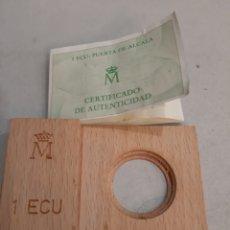 Material numismático: CAJA VACÍA 1 ECU ESPAÑA CERTIFICADO PUERTA ALCALA. Lote 195456086