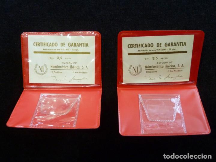 Material numismático: LOTE DE DOS CARTERAS VACIAS NUMISMÁTICA IBERIA, S.A., CON CERTIFICADO GARANTIA MONEDAS ORO DE 3,5 gr - Foto 2 - 202555996