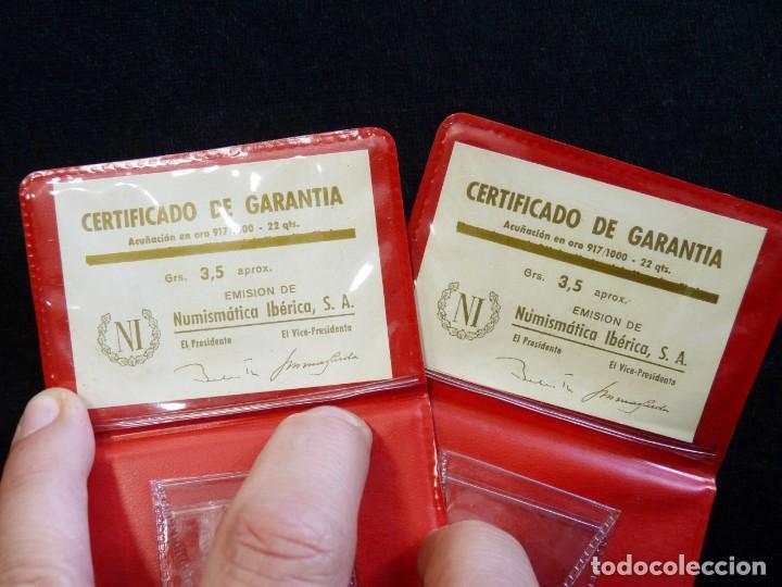 Material numismático: LOTE DE DOS CARTERAS VACIAS NUMISMÁTICA IBERIA, S.A., CON CERTIFICADO GARANTIA MONEDAS ORO DE 3,5 gr - Foto 3 - 202555996