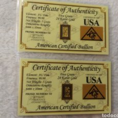 Material numismático: DOS LINGOTES DE ORO DE 5 GRANOS CADA UNO. Lote 203834423