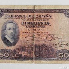Material numismático: BILLETE 50 PESETAS 1927 SIN SELLO-CINTA AISLANTE EN EL CENTRO. Lote 205570963