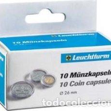 """Material numismático: CAPSULAS PARA MONEDAS DE 2€ """"CAPS"""" """"LEUCHTTURM"""" REF 309404 DIÁMETRO Ø26 (10U.). Lote 205867937"""