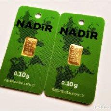 Material numismático: LOTE 2 LINGOTES ORO 24.KT. NADIR MACIZO Y PURO 999.9 CERTIFICADO EN BLISTER (0,10.GR X 2 = 0,20 GR.). Lote 208839097
