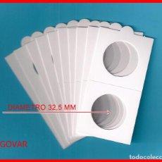Material numismático: 10 CARTONES DIAMETROS 32,5 MM CON SOLAPA PARA MONEDAS; DE GRAPAR. Lote 210365610
