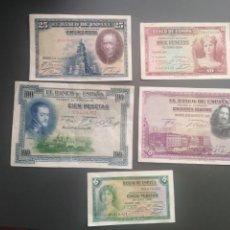 Material numismático: LOTE DE 5 BILLETES DE 5,10,25,50 Y 100 PESETAS. Lote 210814837