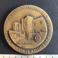 Material numismático: MEDALLÓN DE BRONCE. CLUB DE LEONES EN TORTOSA, TARRAGONA. AÑO 1986. Lote 211753671