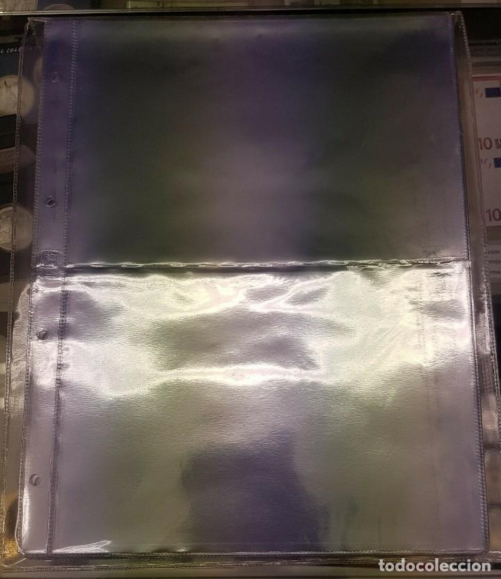 PACK 10 HOJAS PARA BILLETES, DOCUMENTOS, ETC - 2 HUECOS - ÁLBUM GRANDE 4 ANILLAS (Numismática - Material Numismático)
