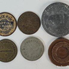 Material numismático: COLECCIÓN DE 6 FICHAS, MONEDAS Y MEDALLA. ESPAÑA. VER DESCRIPCION. CIRCA 1930.. Lote 218579192